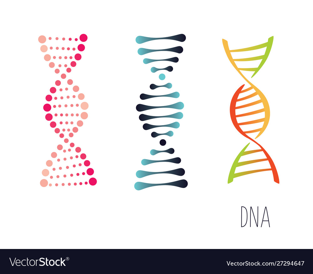 Dna molecule sign set genetic elements and icons