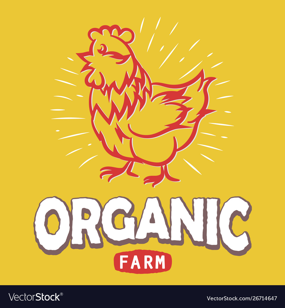 Label with a chicken silhouette eco organic farm