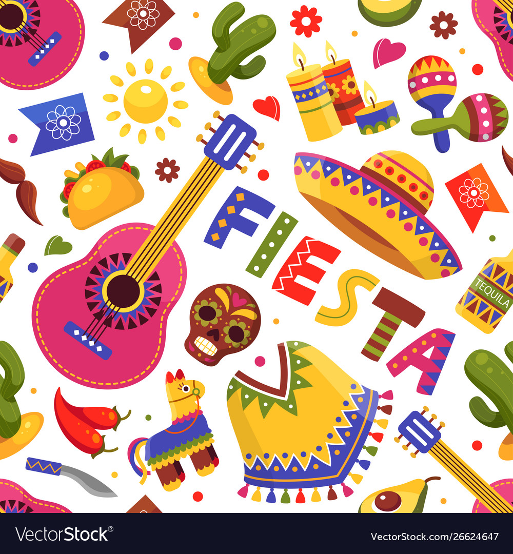 Mexican fiesta pattern traditional floral holiday