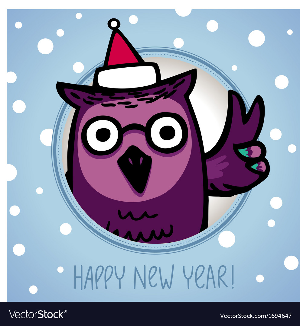 Owl on winter background vector image