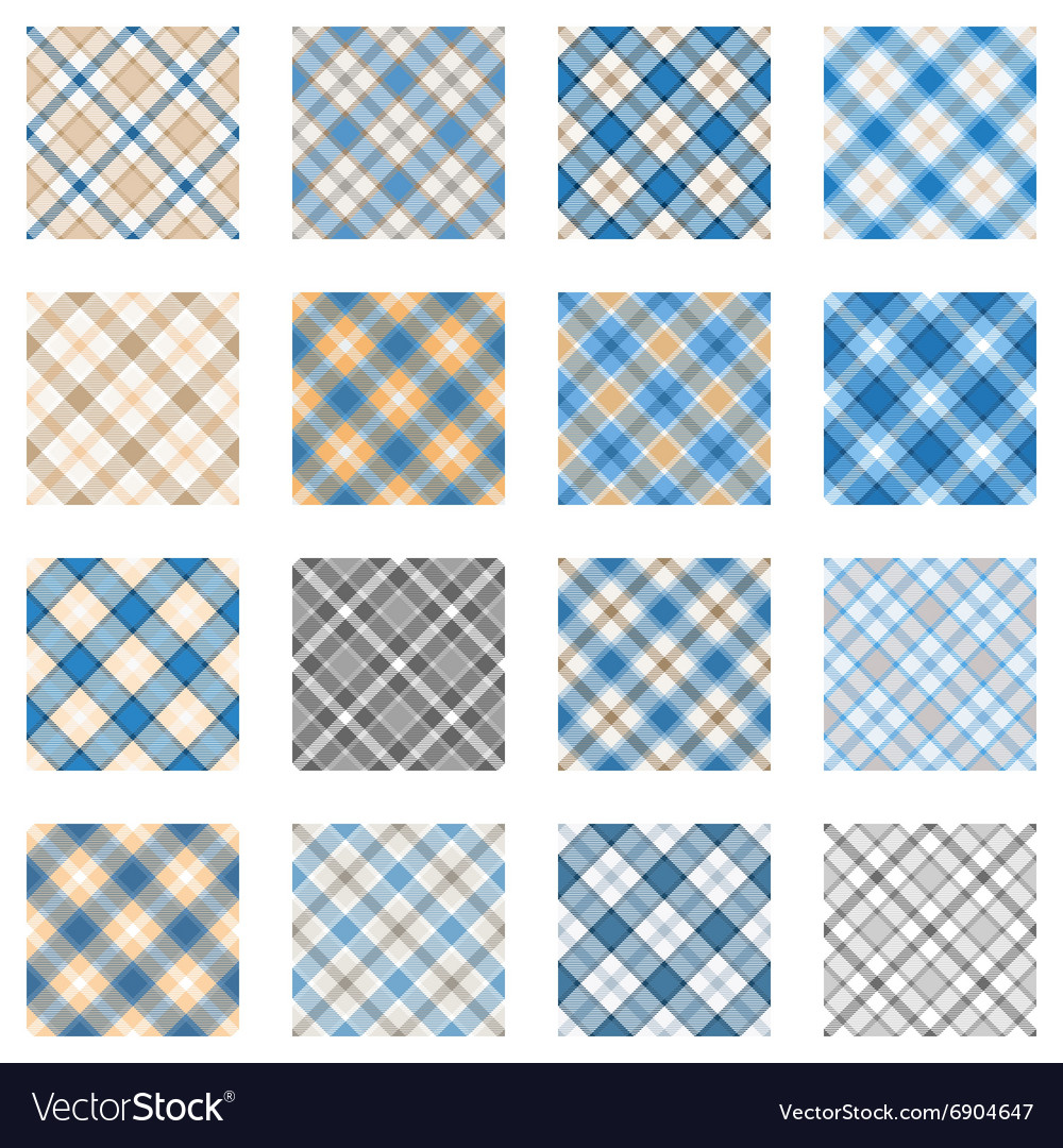Plaid patterns collection light blue and beige