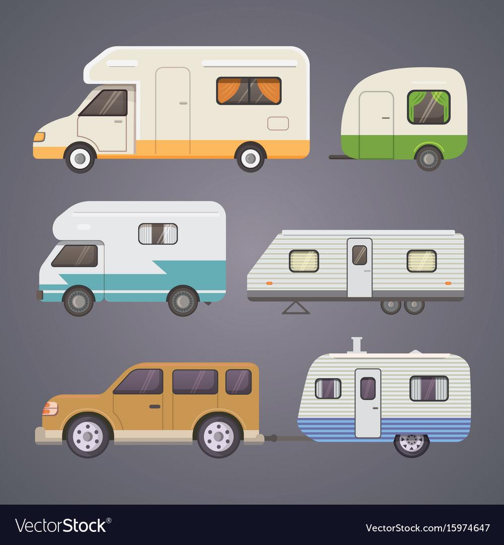 Retro camper trailer collection car trailers