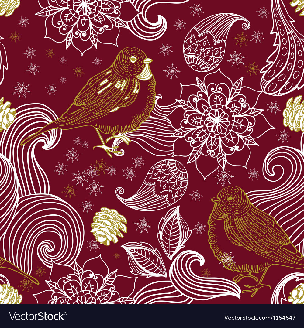 Seamless background with bird and flower vector image