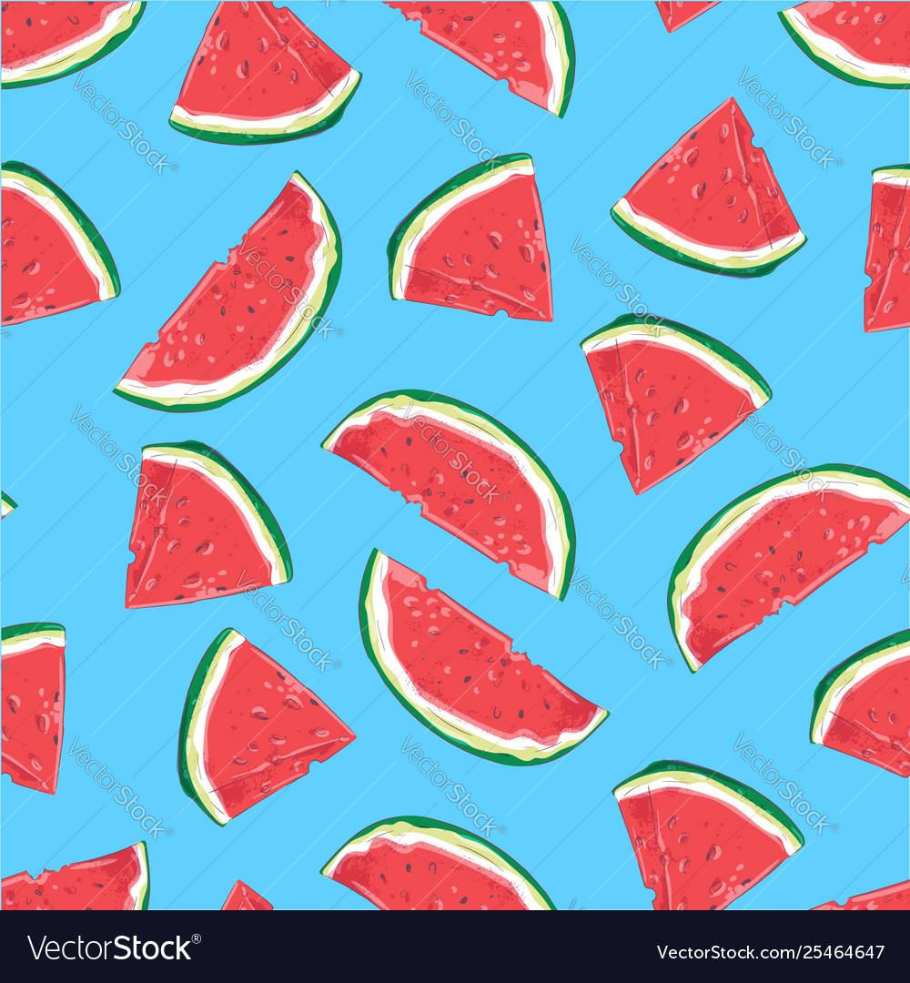 Seamless pattern watermelon slices