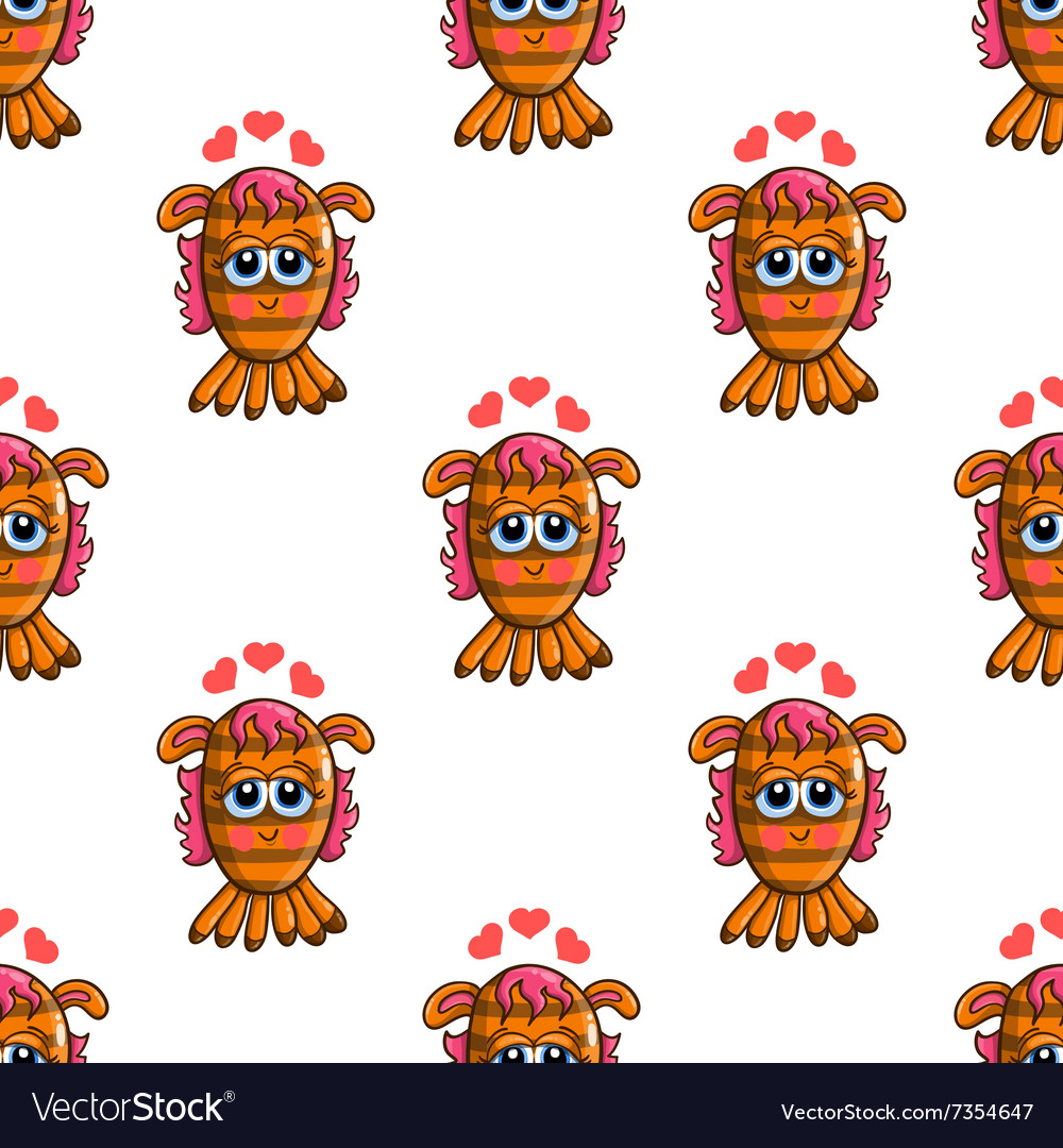 Seamless pattern with cute cartoon monsters-3 vector image