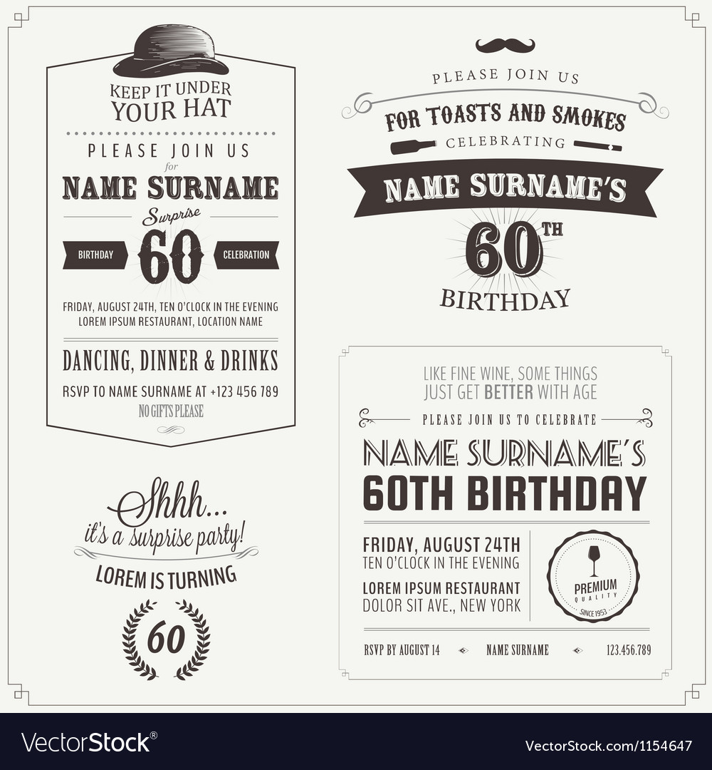 Set adult birthday invitation design elements