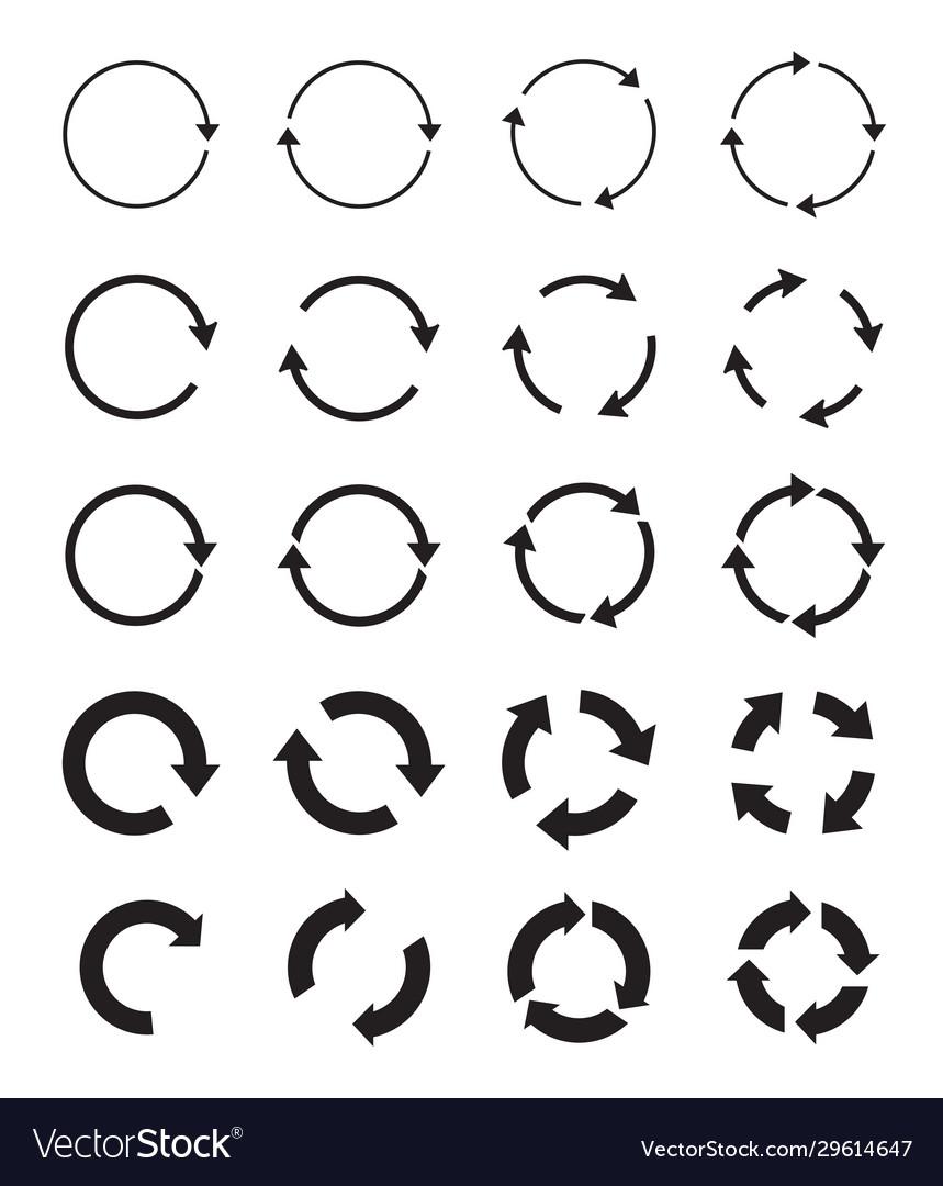 Sets black circle arrows icons