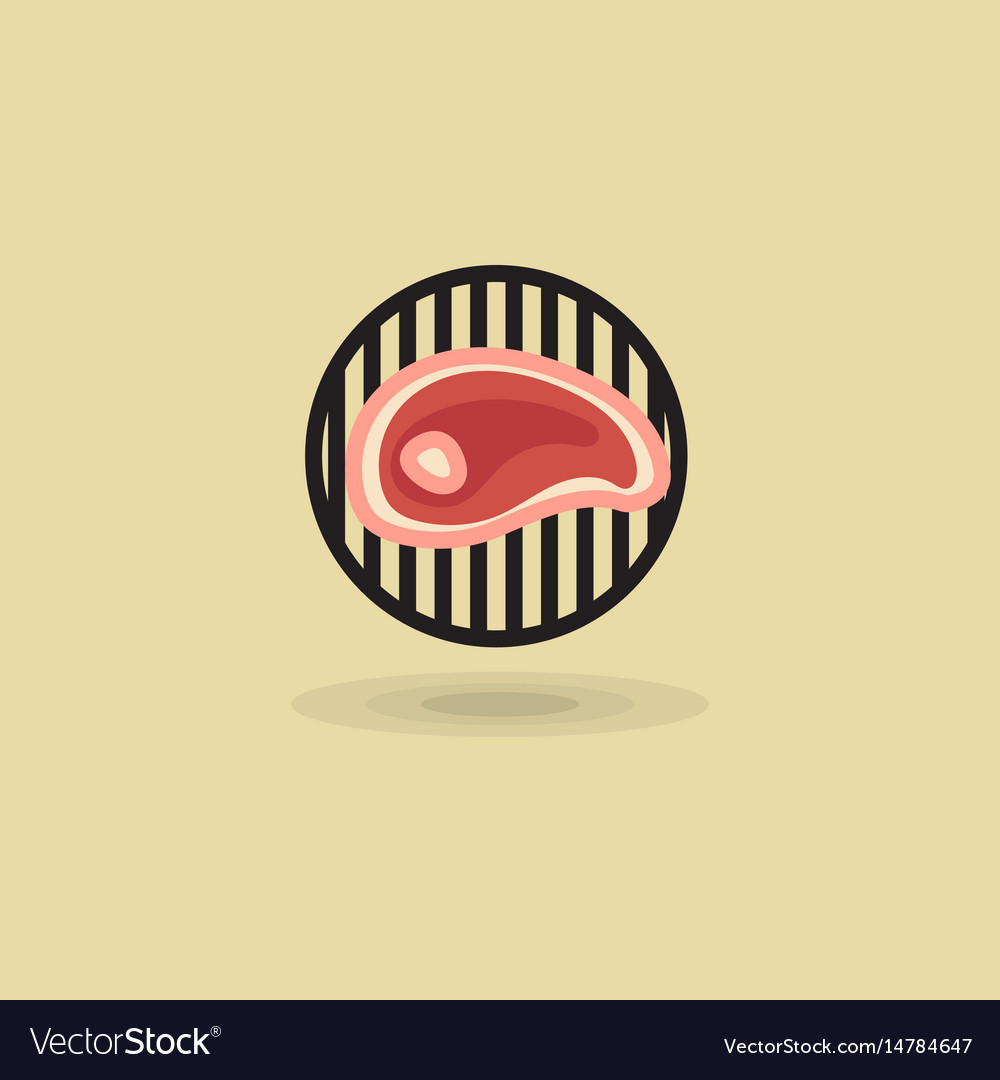 Steak beef on grill barbecue icon