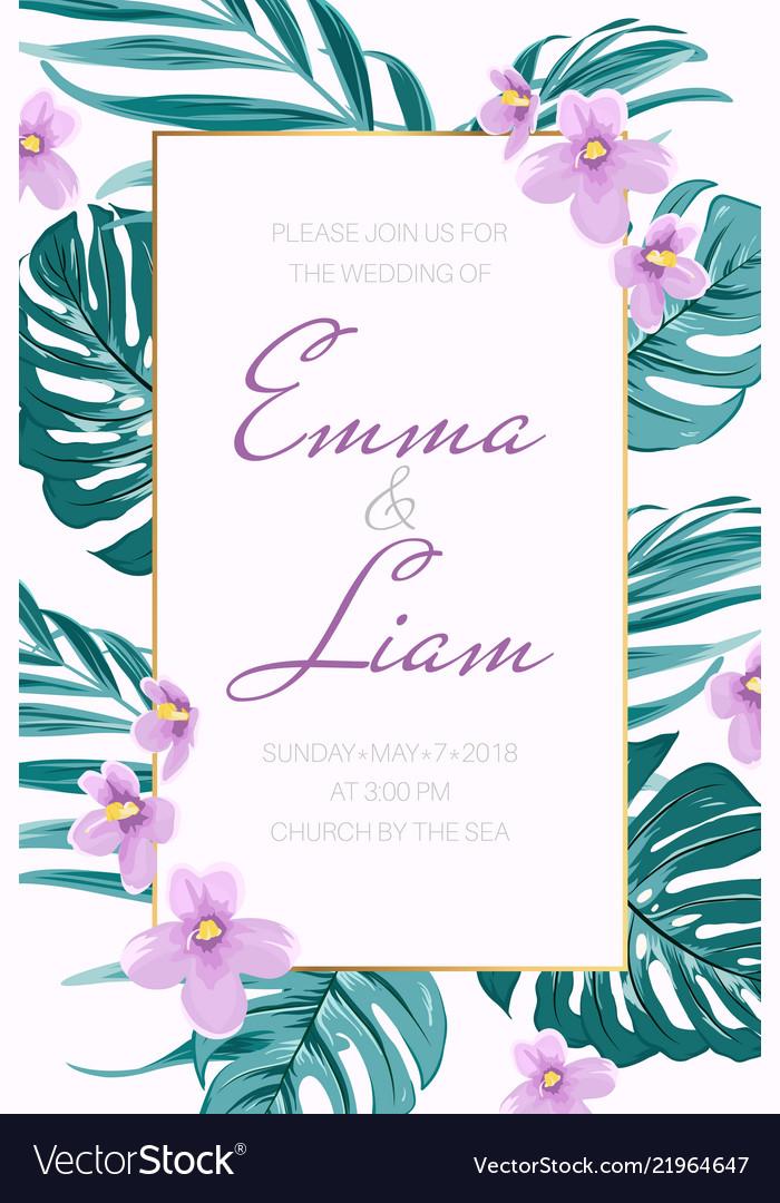 Wedding invitation tropical greenery viola flowers