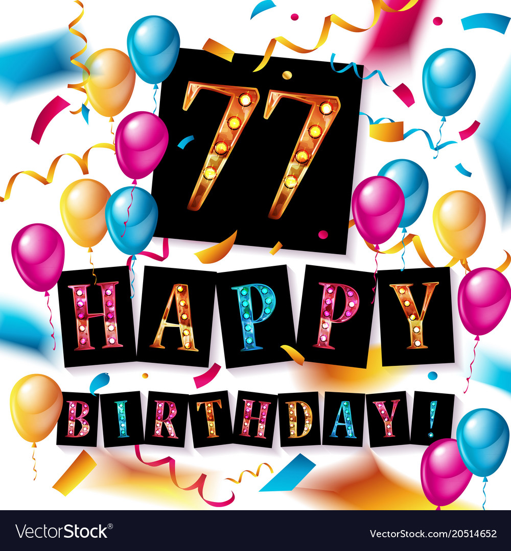 77 Years Anniversary Happy Birthday Vector Image