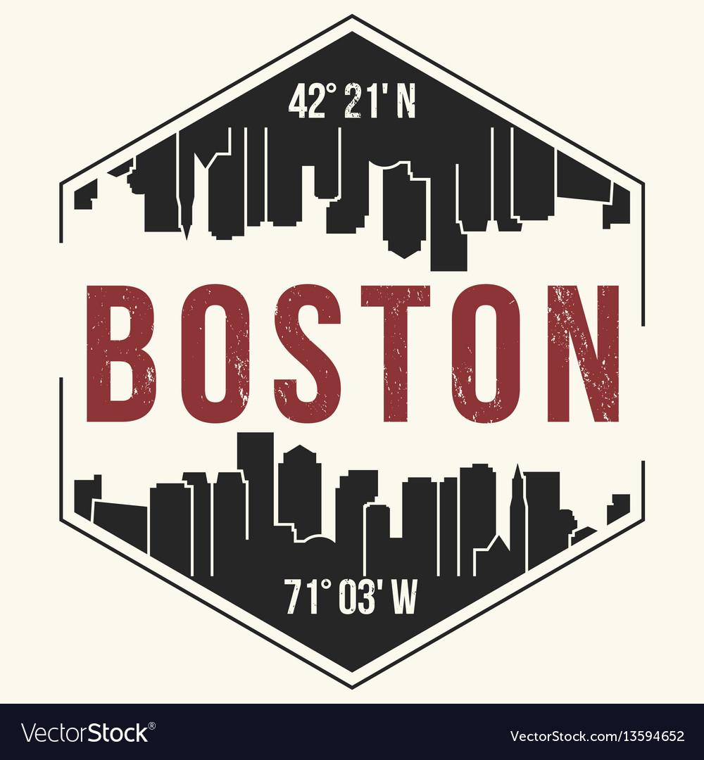 Boston City Graphic T Shirt Design Tee Print Vector Image