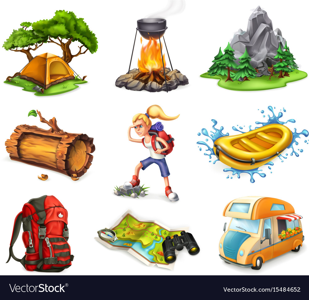 Camp and adventure 3d icons set