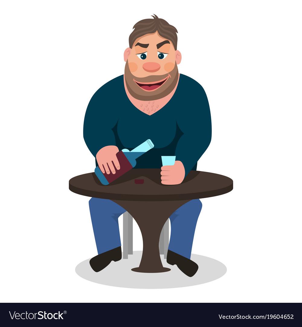 Cartoon man drinking alcohol vector image