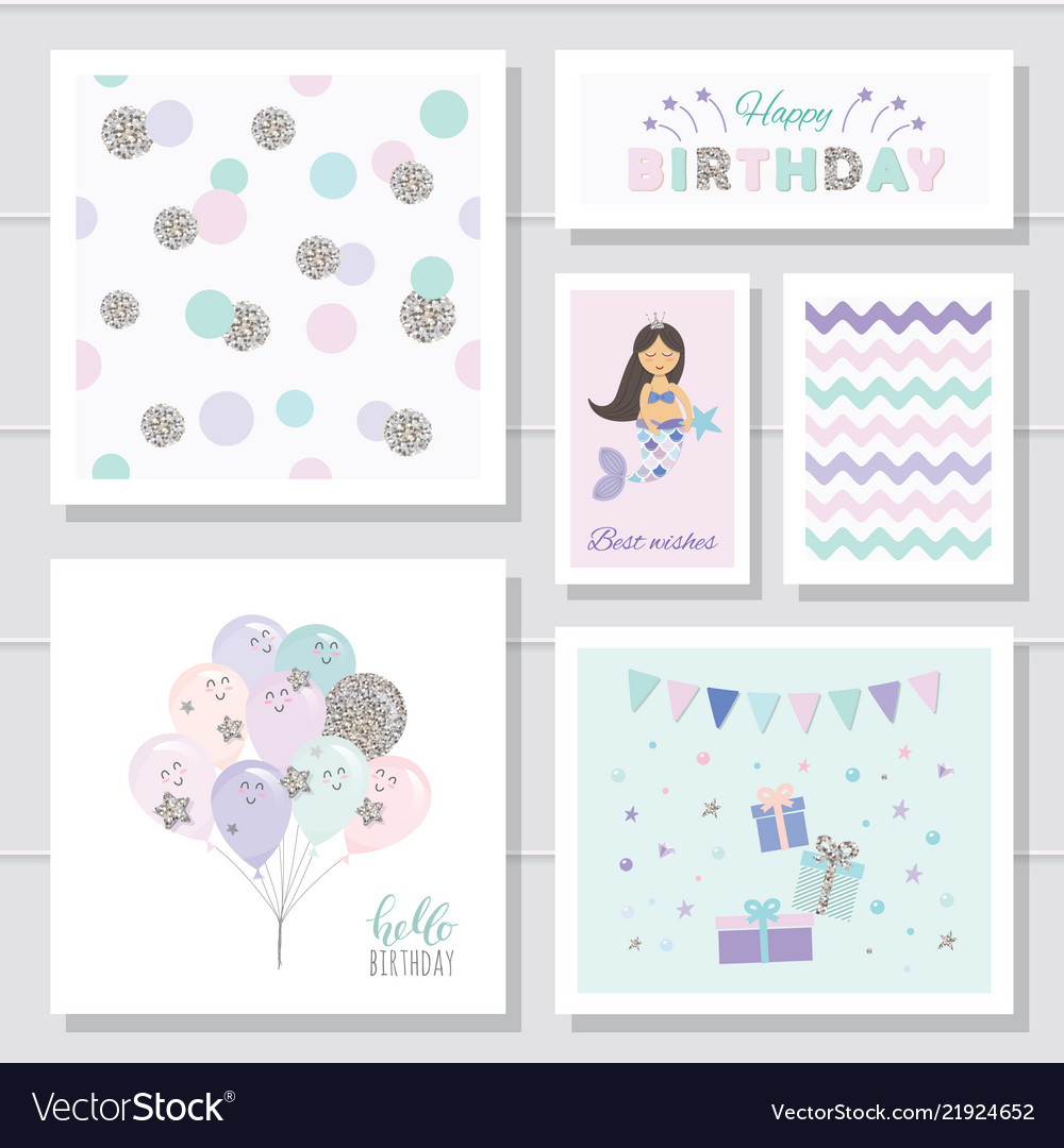 Cute Birthday Cards Set For Girls With Glitter Vector Image