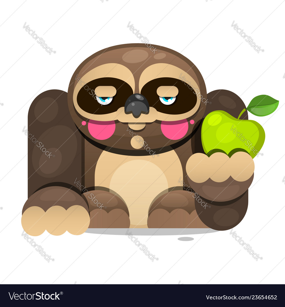 Cute cartoon sloth sitting cartoon animal