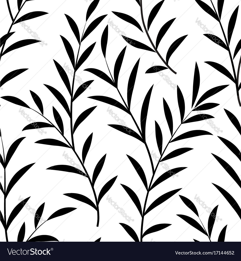 Floral leaves seamless pattern branch silhouette