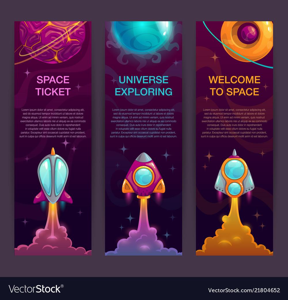 Horizontal space banners set rocket launch