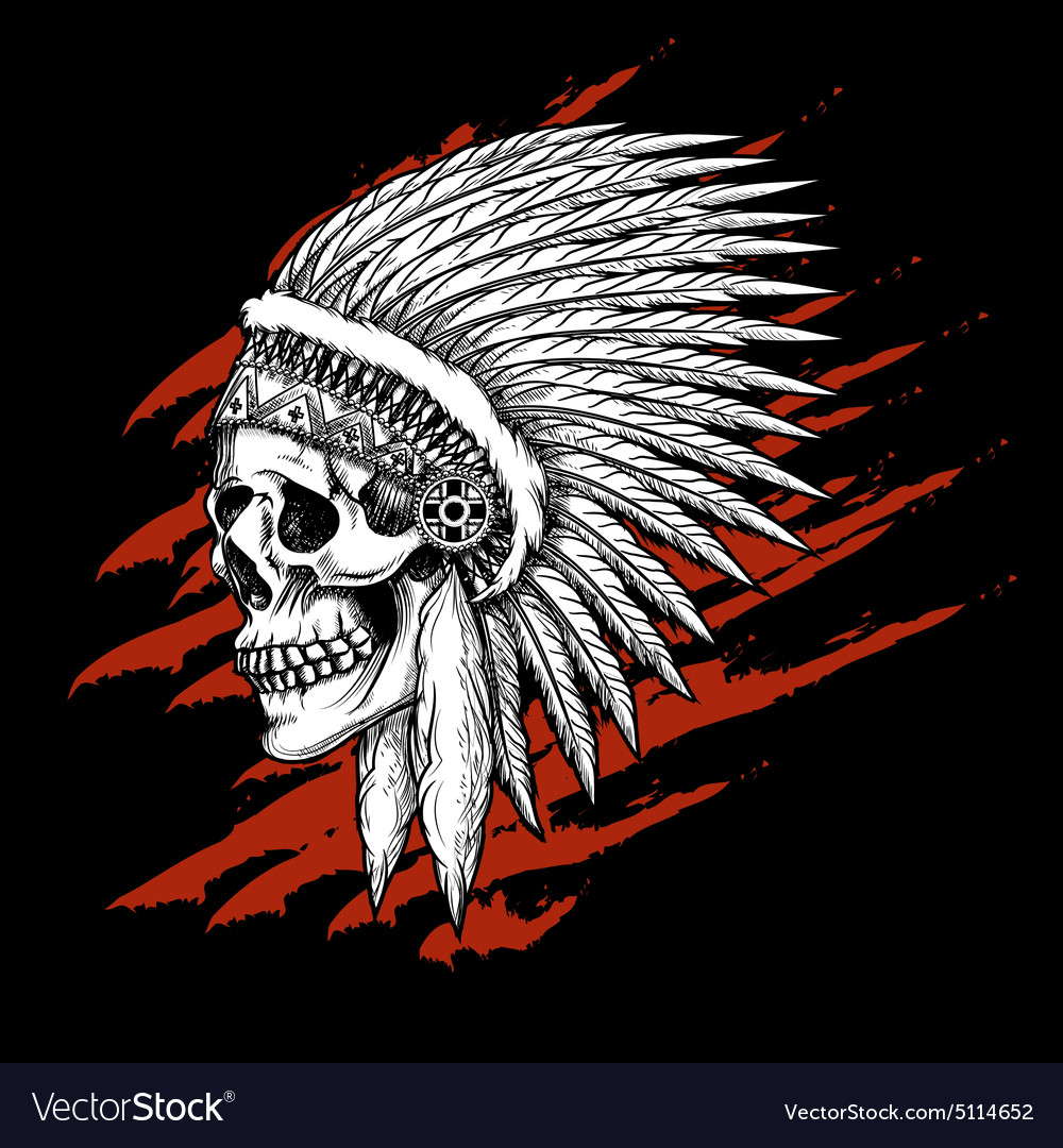 Indian tribal skull with feathers emblem vector image