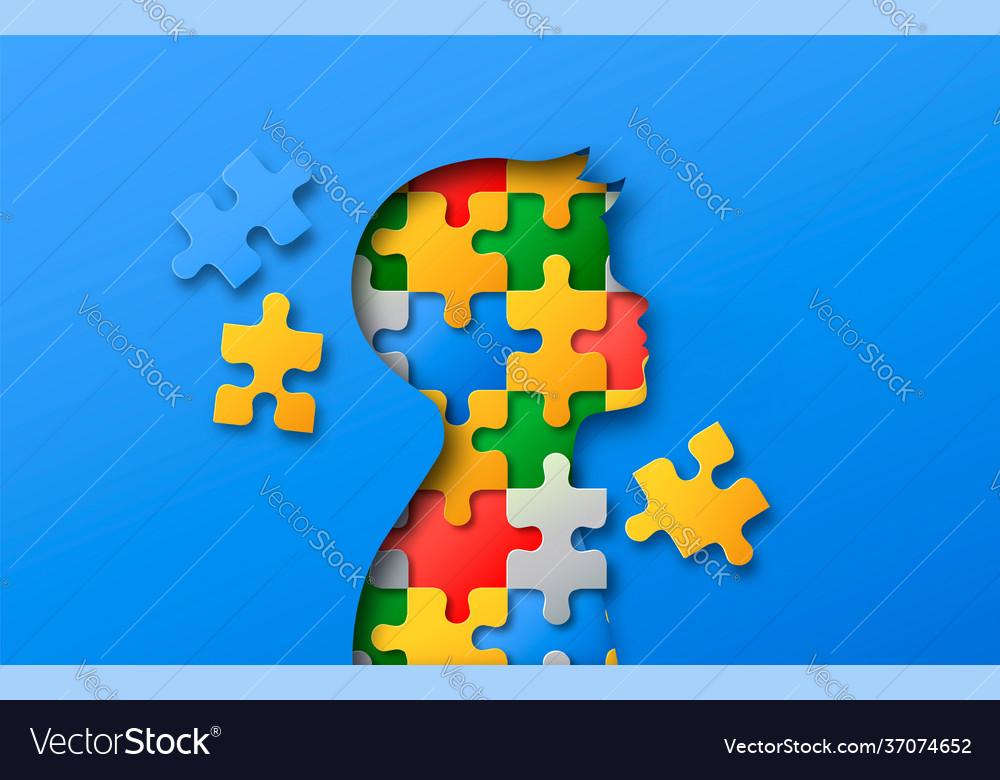 Little boy colorful puzzle head paper cut concept