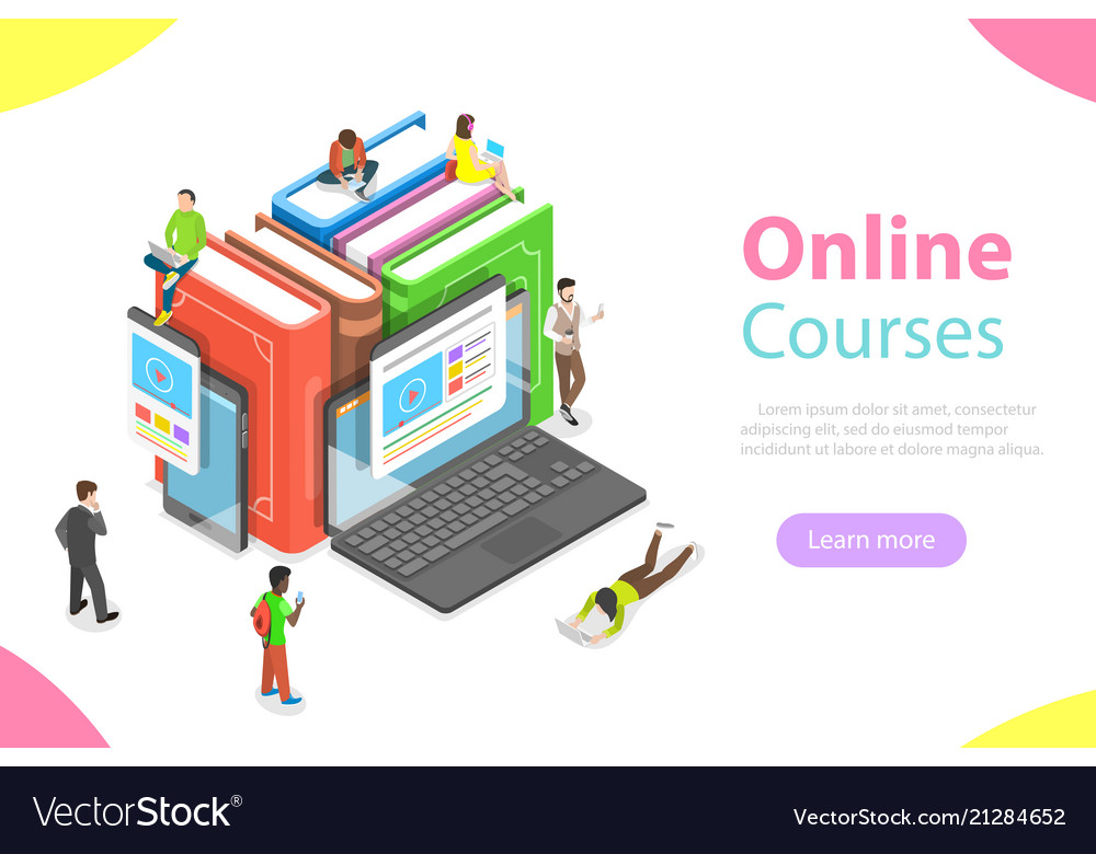 Online courses flat isometric concept