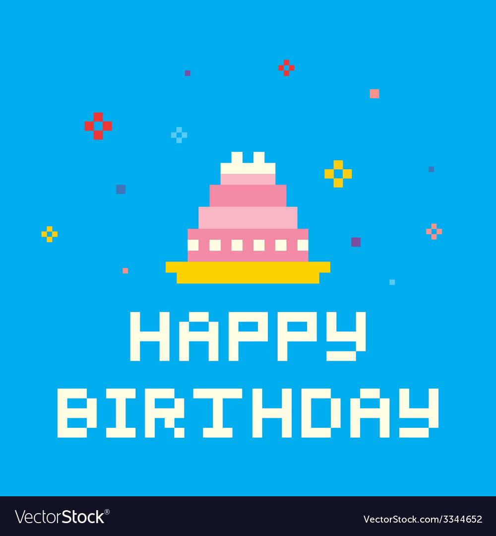 Pixel birthday cake vector image