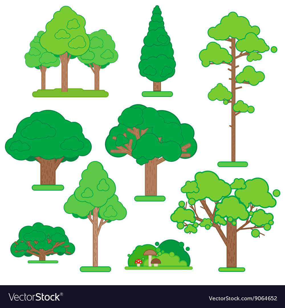 Set Of Green Trees and Shrubs on White Background