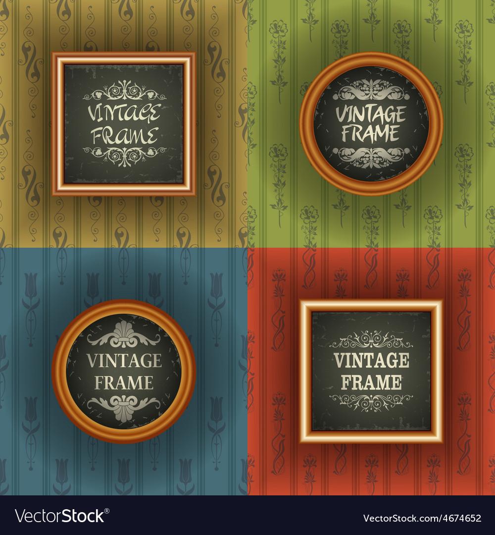 Set Of Old Wallpaper With Vintage Frame Vector Image On Vectorstock