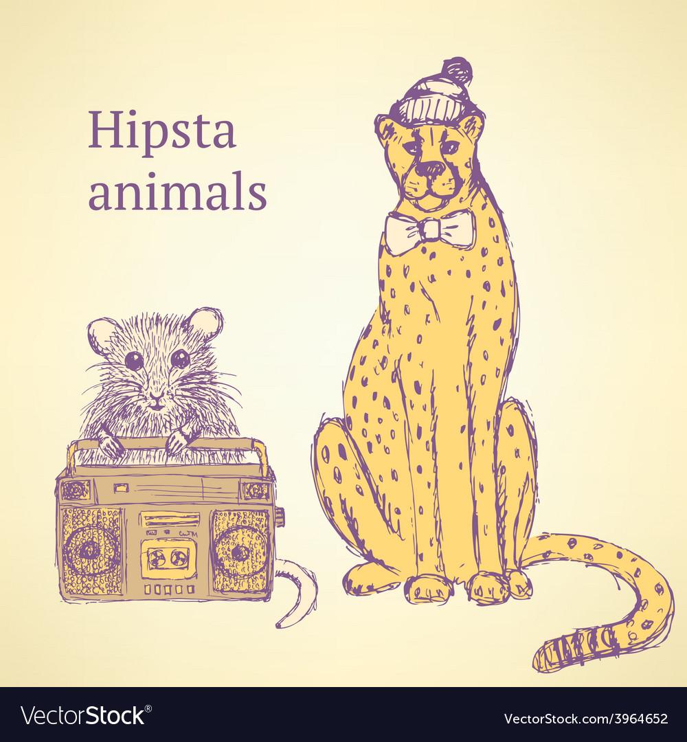 Sketch fancy animals in vintage style vector image