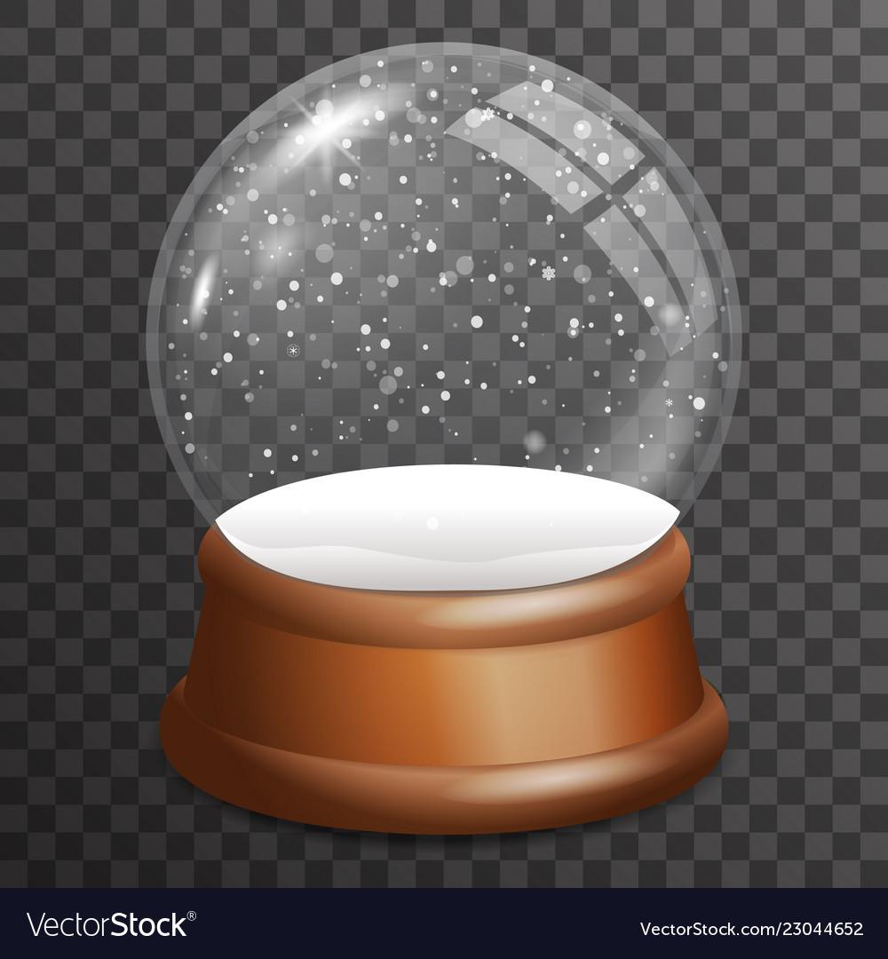 Snow falling glass ball highlight wooden stand 3d