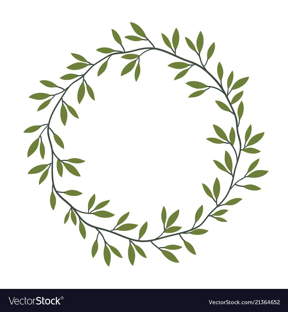 Vintage floral frame with green leaves laurel