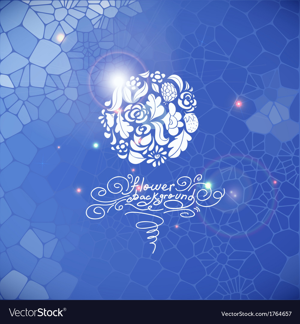 Blue print background with circle flowers