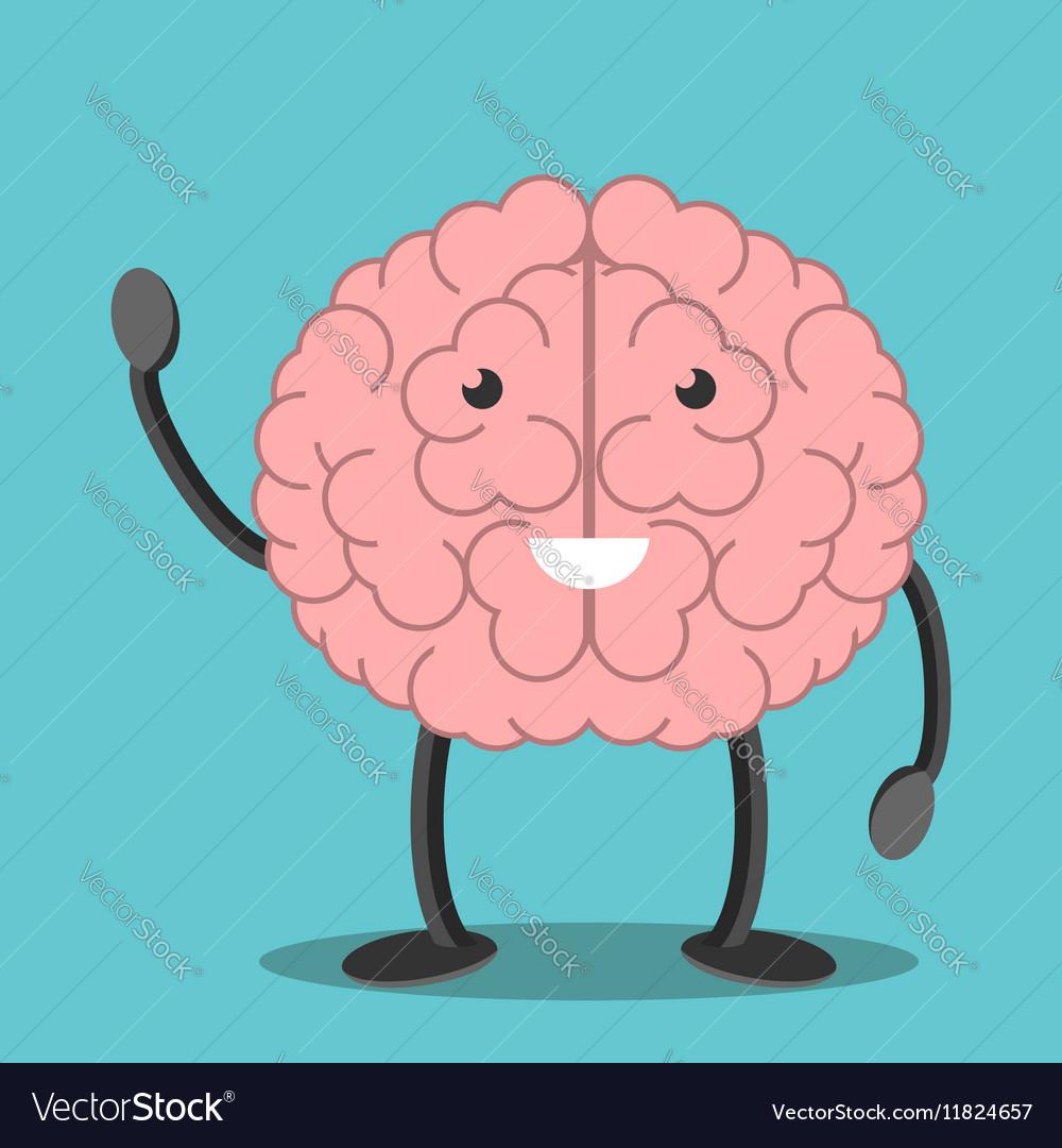 Brain character waving hand