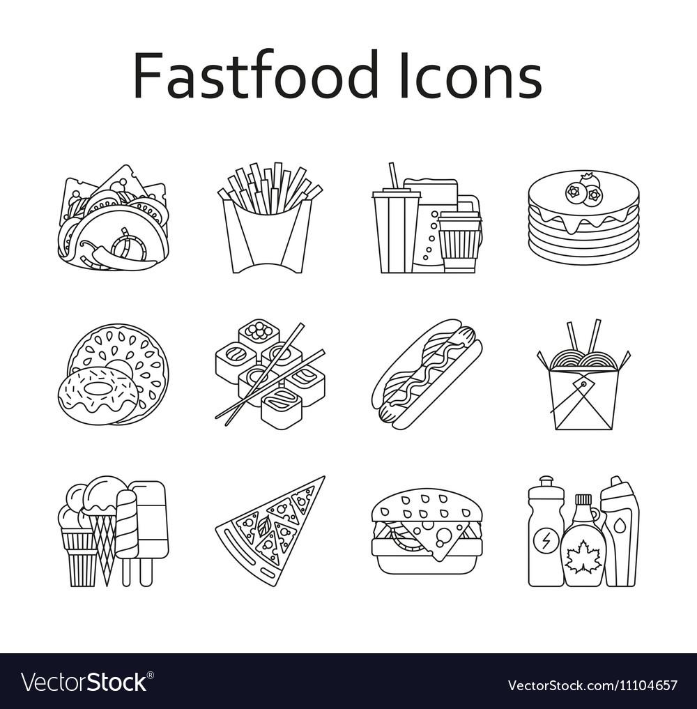 Fastfood and streetfood icons set
