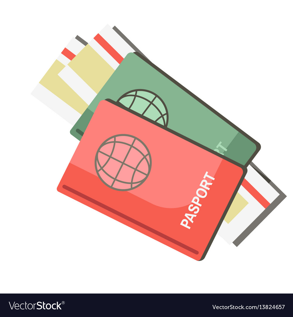 International passports with tickets isolated on