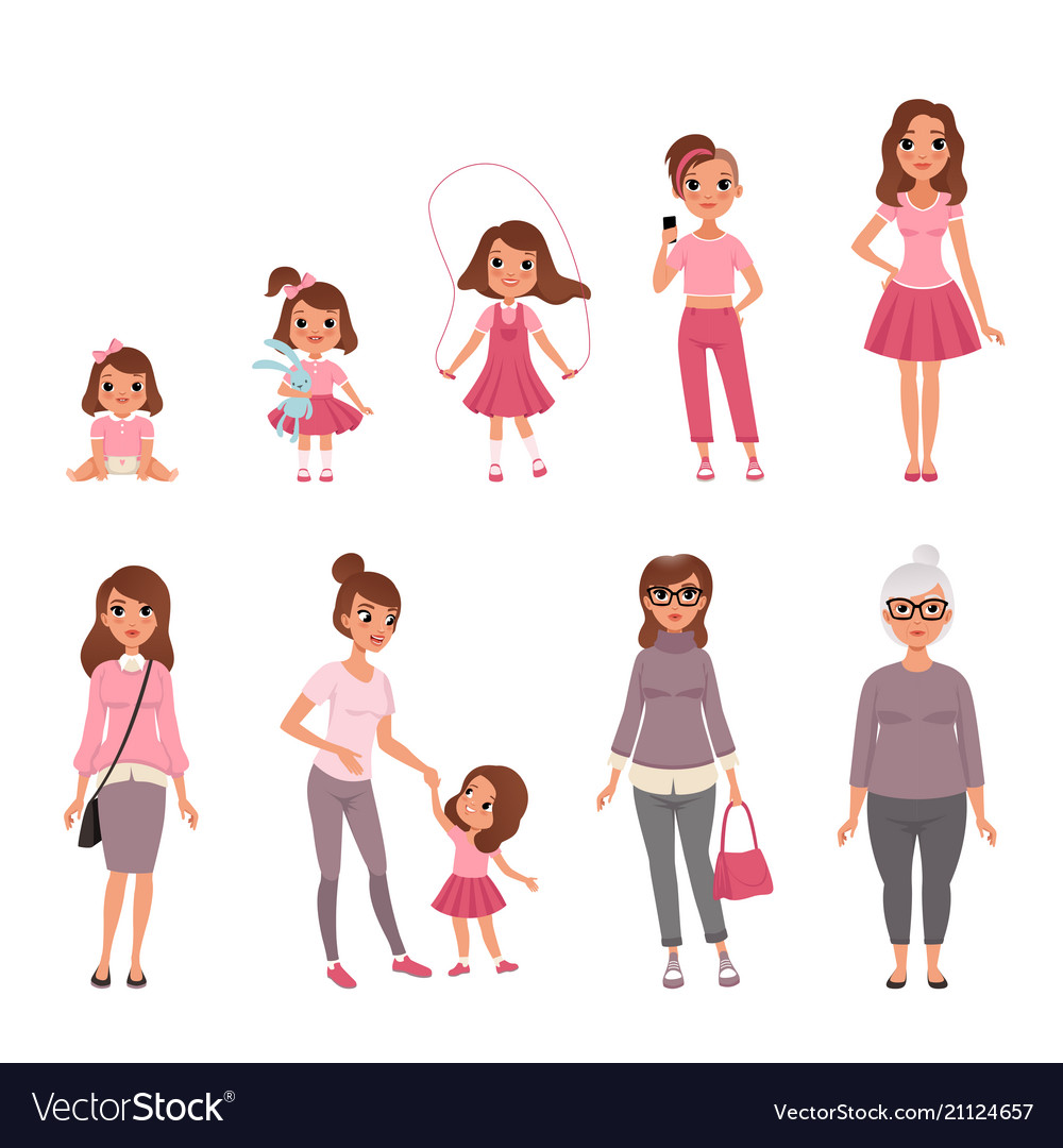 Life cycles of woman stages of growing up from