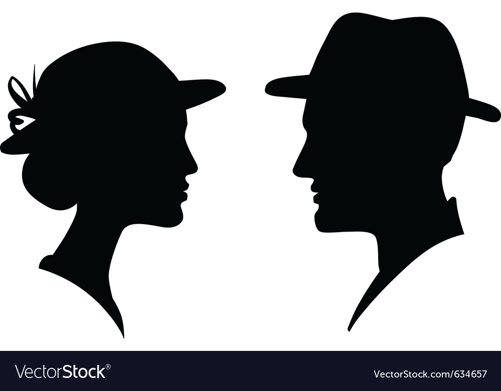 Man and woman profile silhouette