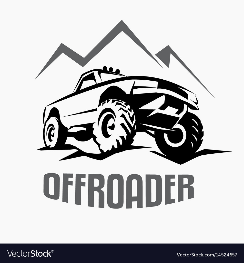 Offroad Suv Car Monochrome Template For Labels Vector Image - 4x4 label template