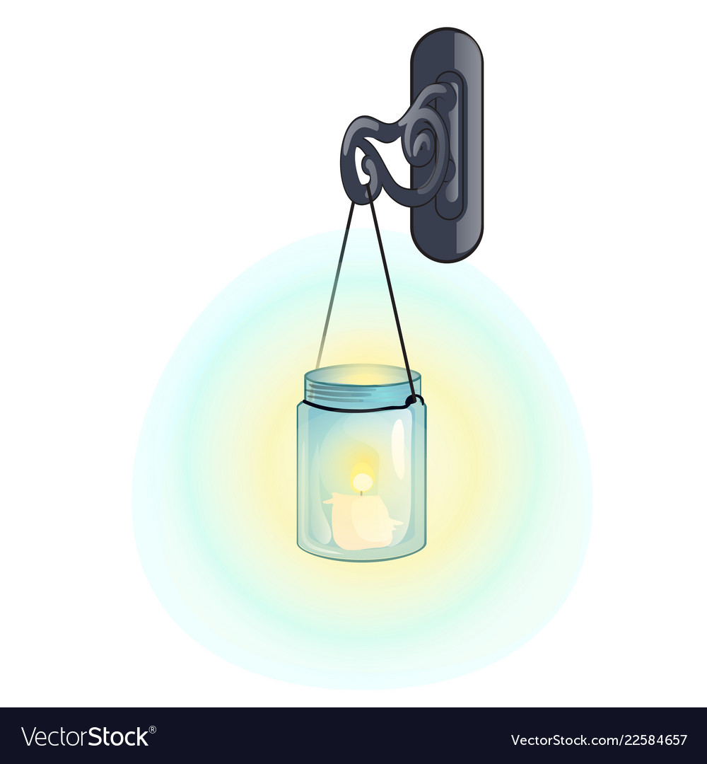 Outdoor hanging lantern in retro style isolated on