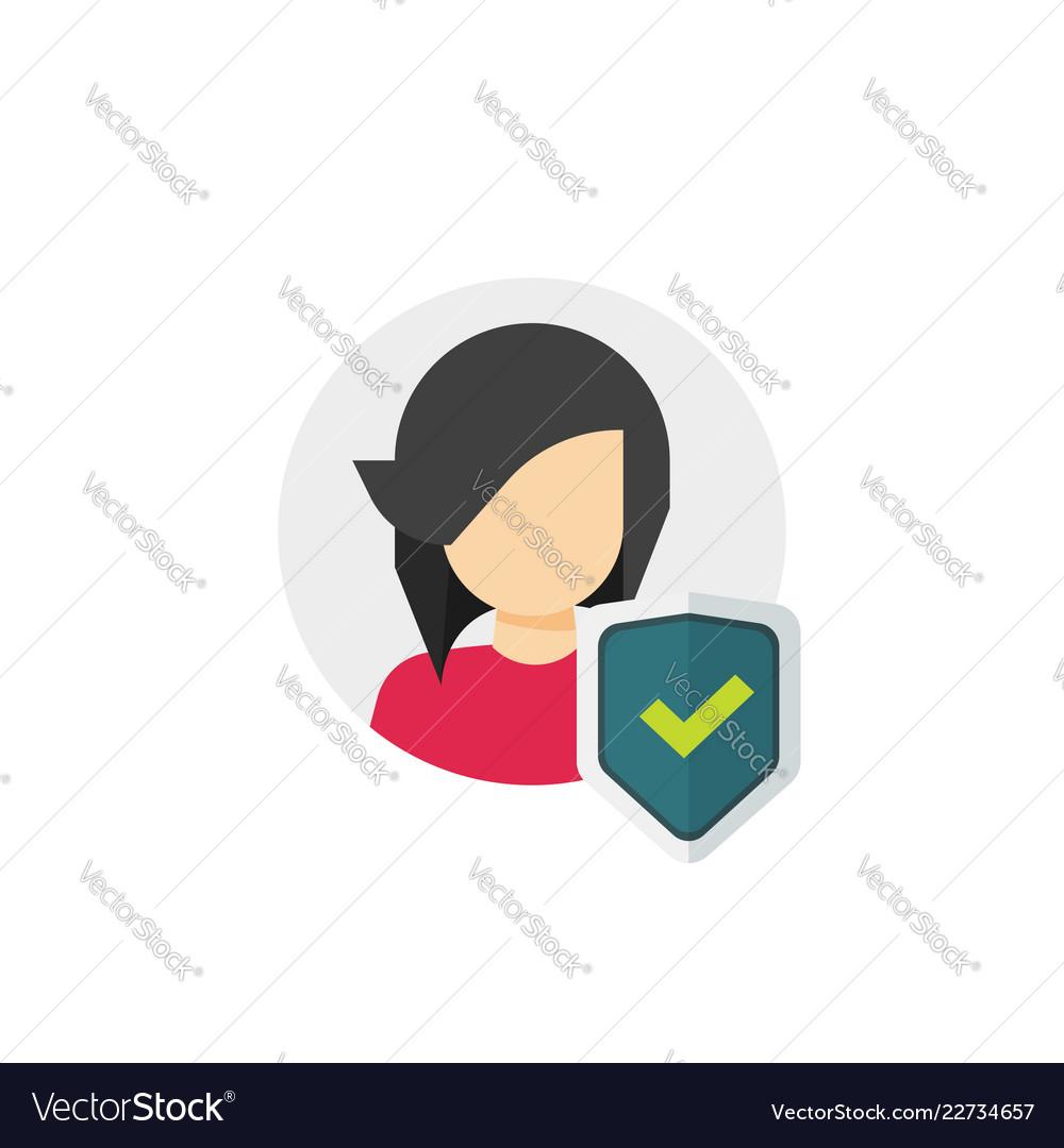 Privacy icon flat cartoon shield checkmark