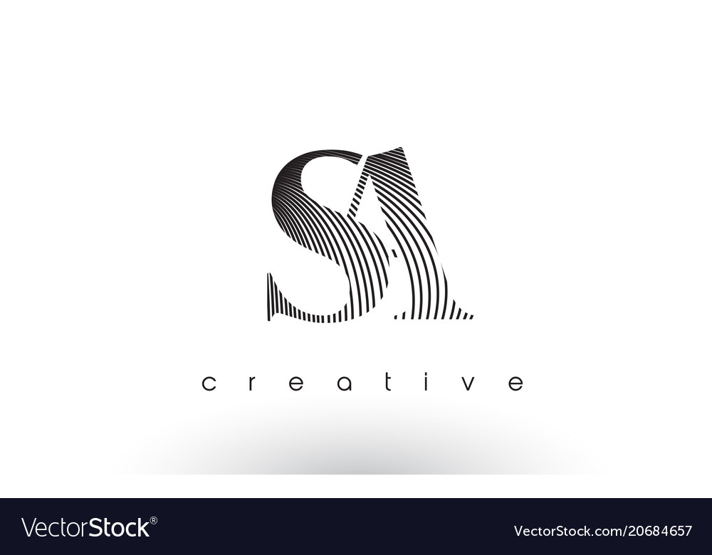Sa logo design with multiple lines and black and vector image