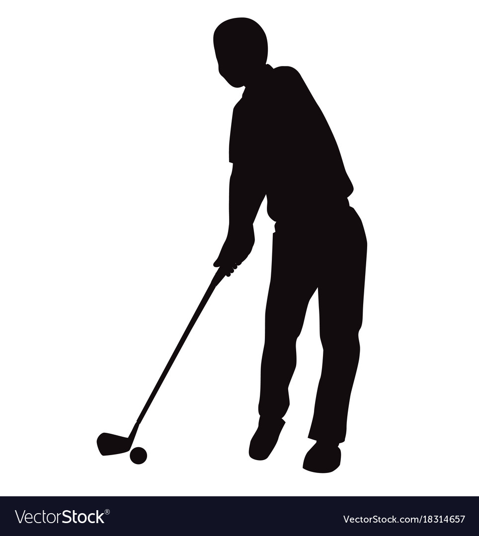 Silhouette of golf swing front view