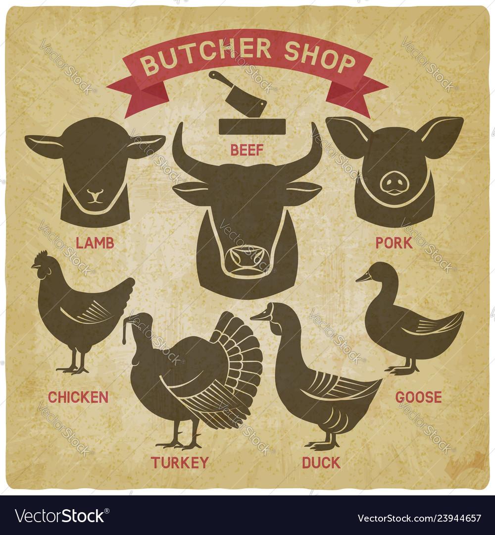 Silhouettes animals set butcher shop icons
