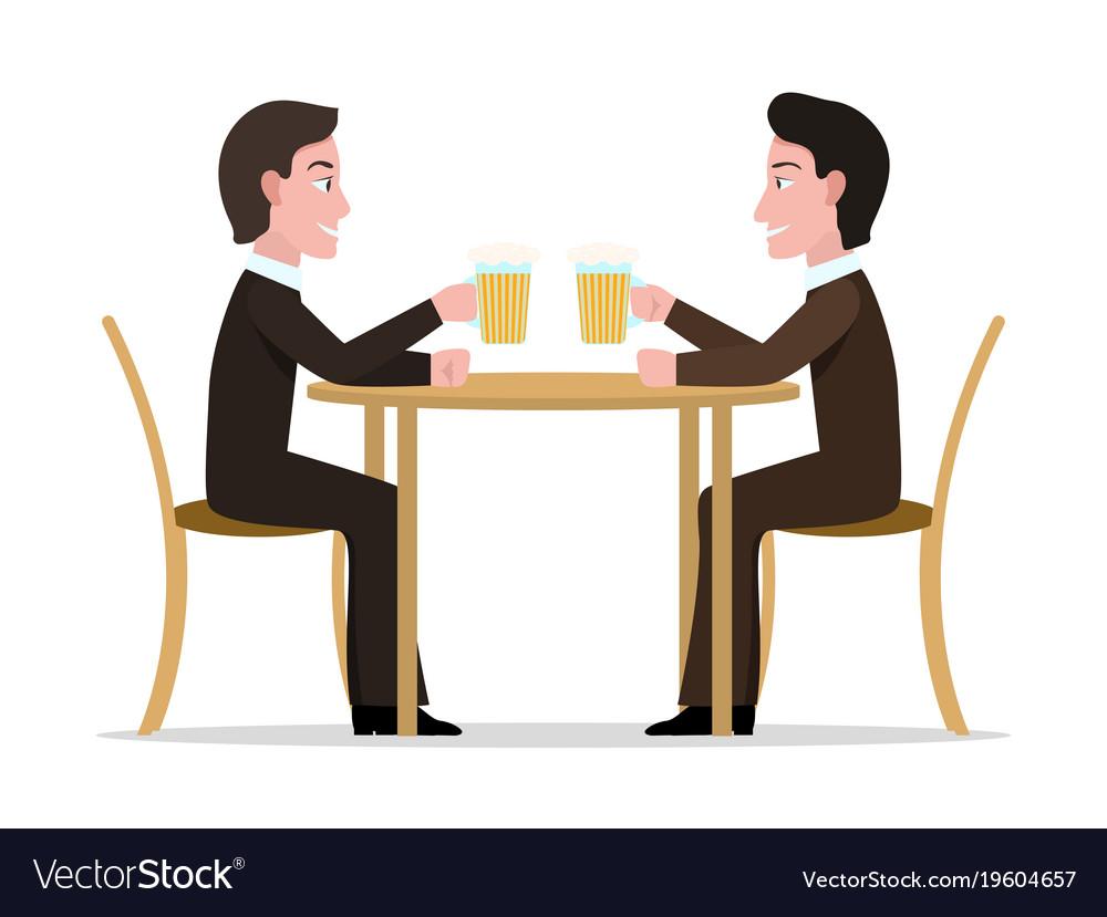 Two cartoon men drinking beer