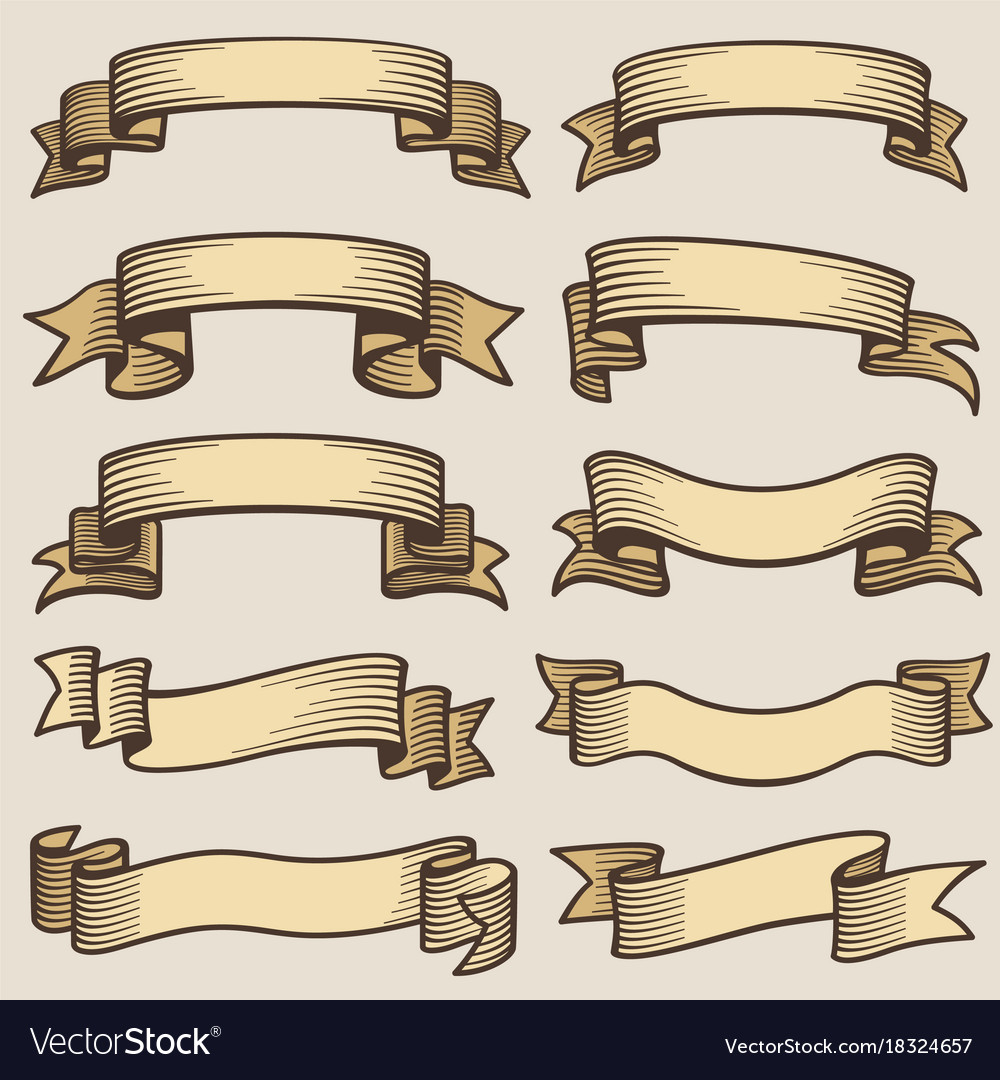 Vintage design banner ribbons blank old Royalty Free Vector