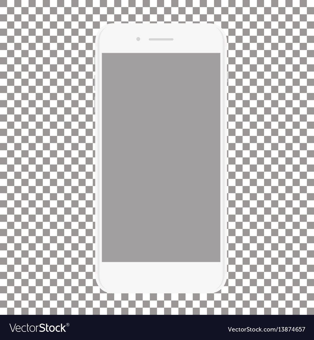 White phone with blank screen on a transparent