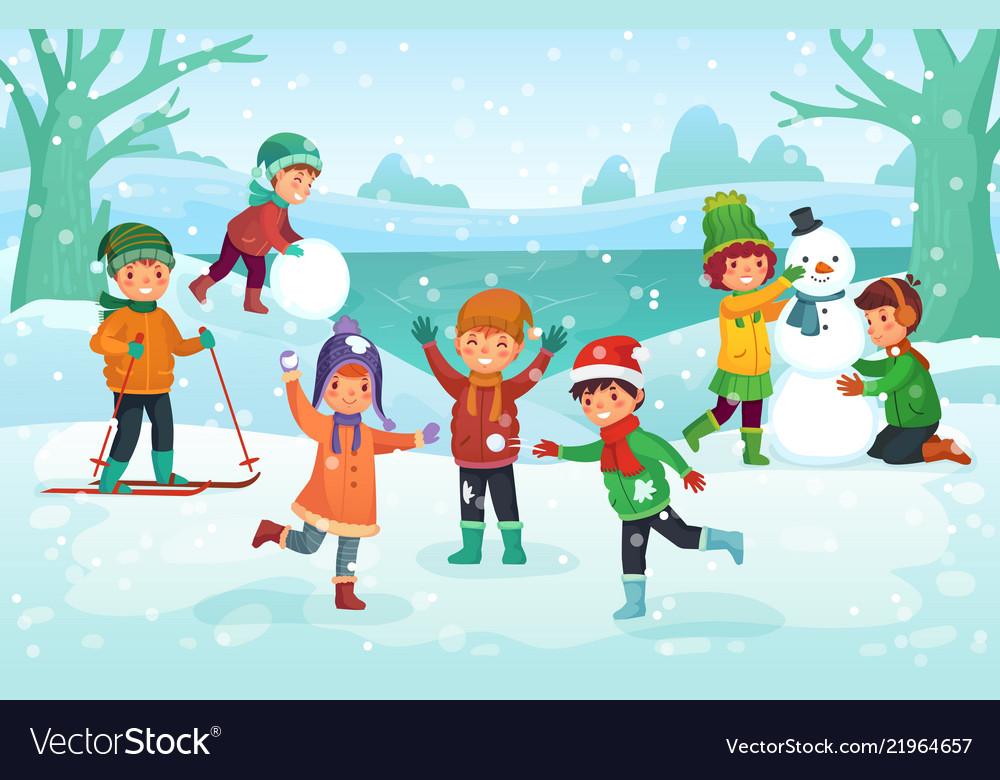 Winter fun for kids happy cute children playing