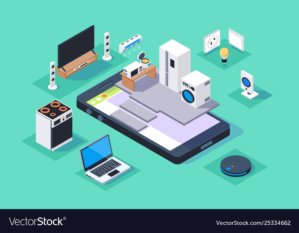 3d isometric smart appliances home on mobile phone