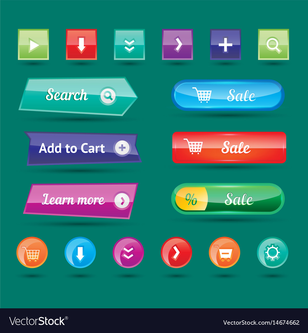 Colorful website buttons design