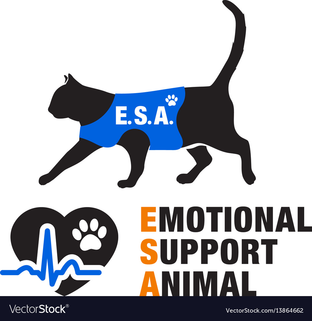 Emotional support animal emblems vector image
