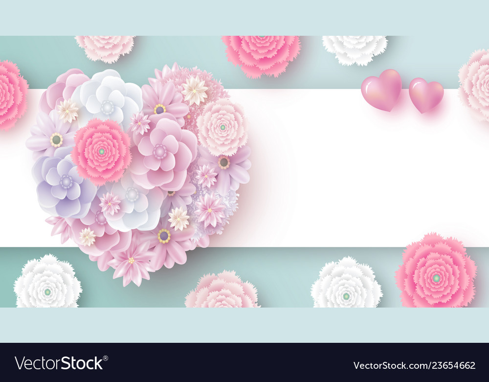 Flowers in heart shape with copy space
